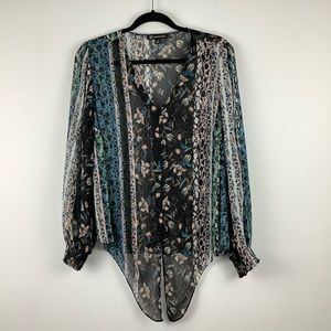 INC Floral Long Sleeve Tie Front Blouse in Black